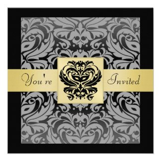 Halloween Black Mask Damask Gold Ribbon Invitation