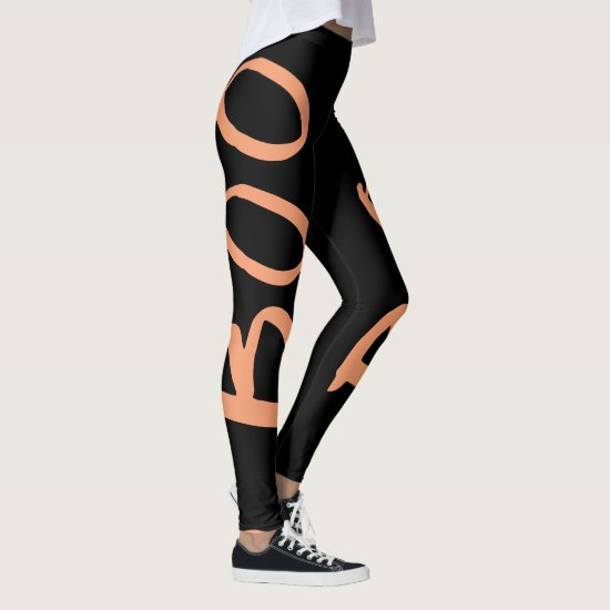 Halloween Black Orange Boo Leggings