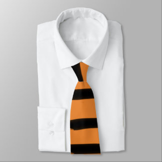 Halloween Black Orange Crooked Wide Stripe Spooky Neck Tie