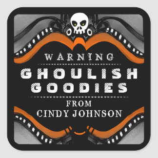 Halloween Black Orange White Treat Warning Label