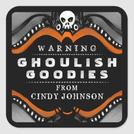 Halloween Black Orange White Treat Warning Label Square Sticker