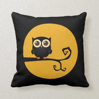 Halloween Black Owl Yellow Moon Throw Pillow