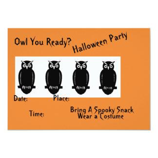 Halloween Black Owls on an Orange Iinvitation Card
