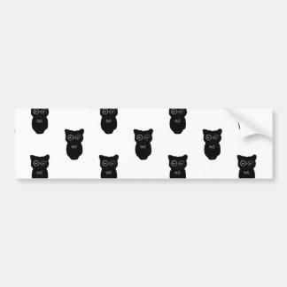 Halloween Black Owls Pattern Bumper Sticker