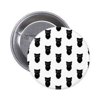 Halloween Black Owls Pattern Button