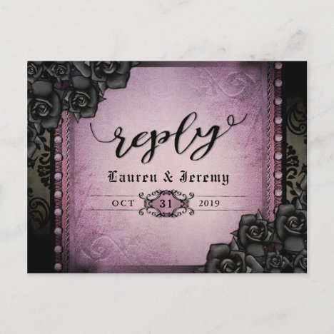 Halloween Black & Purple Gothic Reply PostCard