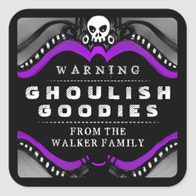 Halloween Black Purple White Treat Warning Label Square Sticker