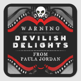 Halloween Black Red & White Treat Warning Label Square Sticker