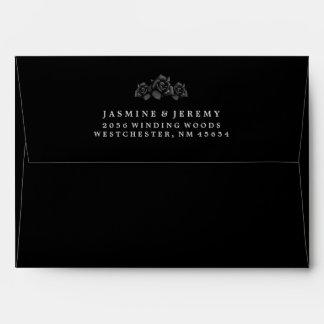 Halloween Black Rose Matching Wedding Envelope
