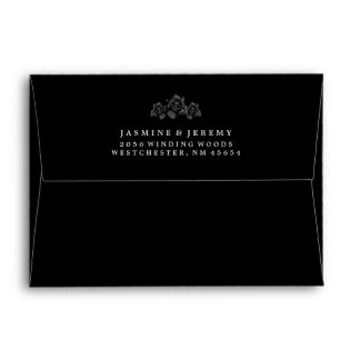 Halloween Black Rose Matching Wedding Envelope