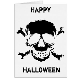 Halloween Black Skull and Cross Bones Card