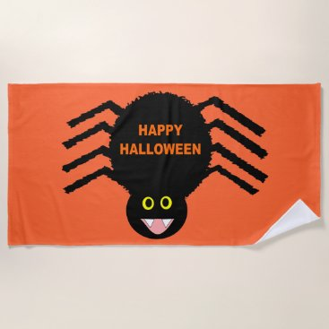 Beach Themed Halloween Black Spider Beach Towel