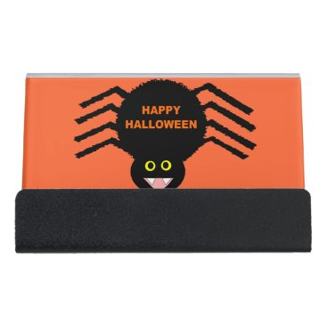 Professional Business Halloween Black Spider Business Card Holder