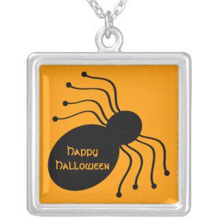 Halloween Black Spider on Orange Necklace