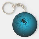 Halloween Black Spider on Web Basic Round Button Keychain