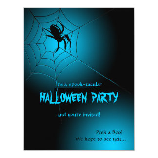 Halloween Black Spider on Web Card