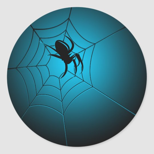 Halloween Black Spider on Web Classic Round Sticker