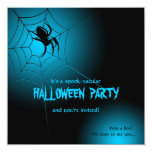 Halloween Black Spider on Web 5.25x5.25 Square Paper Invitation Card