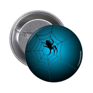 Halloween Black Spider on Web Pinback Button
