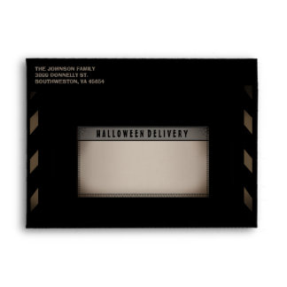 Halloween Black & Tan Halloween Party Envelope