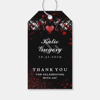 Halloween Black & White Blood Splatter Thank You