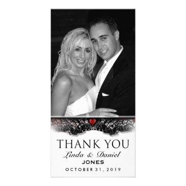 Halloween Themed Halloween Black White Gothic LOVE Photo Thank You Card