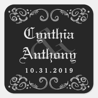 Halloween Black White Gothic Names & Wedding Date