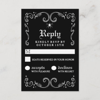 Halloween Black White Gothic Scroll 3.5x5 RSVP