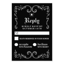 Halloween Black White Gothic Scroll 3.5x5 RSVP Card