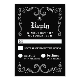 Halloween Black White Gothic Scroll 3.5x5 RSVP Card