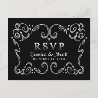Halloween Black White Gothic Scroll RSVP Invitation Postcard