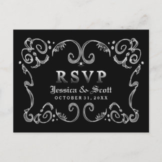 Halloween Black White Gothic Scroll RSVP MENU