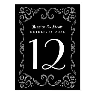 Halloween Black White Gothic Table Number Cards