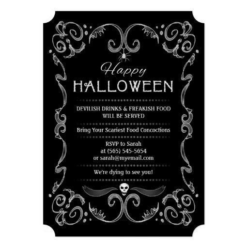 Halloween Black & White Party Invitation (back side)