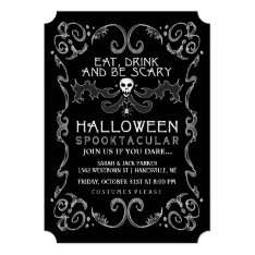 Halloween Black & White Party Invitation at Zazzle
