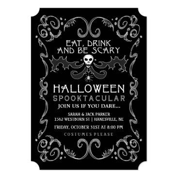 Halloween Themed Halloween Black & White Party Invitation