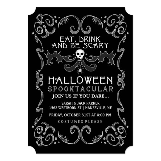 halloween black white party invitation - Black And White Halloween Party