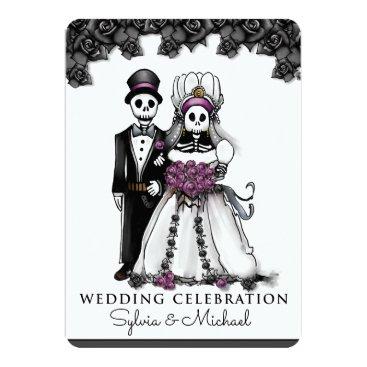 Halloween Themed Halloween Black White Purple Skeleton Couple Card