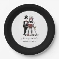 Halloween Black & White Red Skeletons Matching Paper Plate