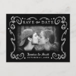 🎃  Halloween Black White Scroll Photo Save the Date Announcement Postcard