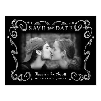 Halloween Black White Scroll Photo Save the Date Postcard