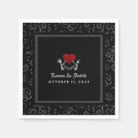 Halloween Black & White Skeletons & Heart Wedding Napkin