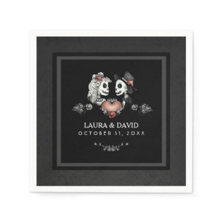 Halloween Black & White Skeletons & Heart Wedding Napkin
