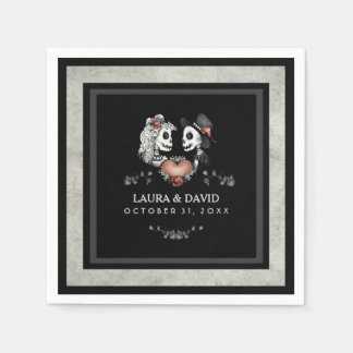 Halloween Black & White Skeletons & Heart Wedding Paper Napkin