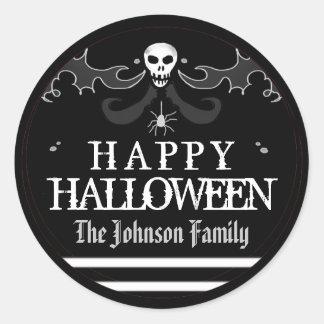 Halloween Black White Skull Label Happy Halloween