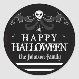Halloween Black White Skull Label Happy Halloween Classic Round Sticker