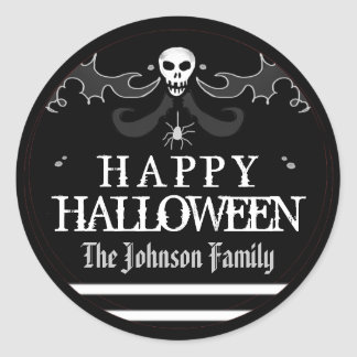 Halloween Black White Skull Label Happy Halloween Classic Round Sticker