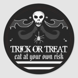 Halloween Black & White Skull Label Trick or Treat Classic Round Sticker