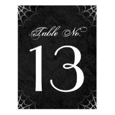 Halloween Black White Spider Web Table Number Card at Zazzle