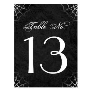 Halloween Black White Spider Web Table Number Card